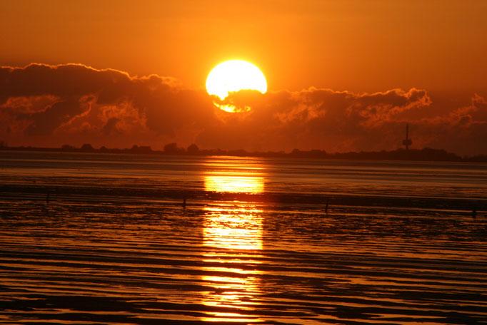 Tolle Farben bietet der Sonnenuntergang im Watt vor der Ferienwohnung