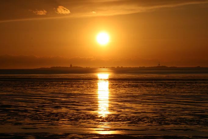 Sonnenuntergang im Watt vor den Ferienwohnungen Cuxhaven Duhnen