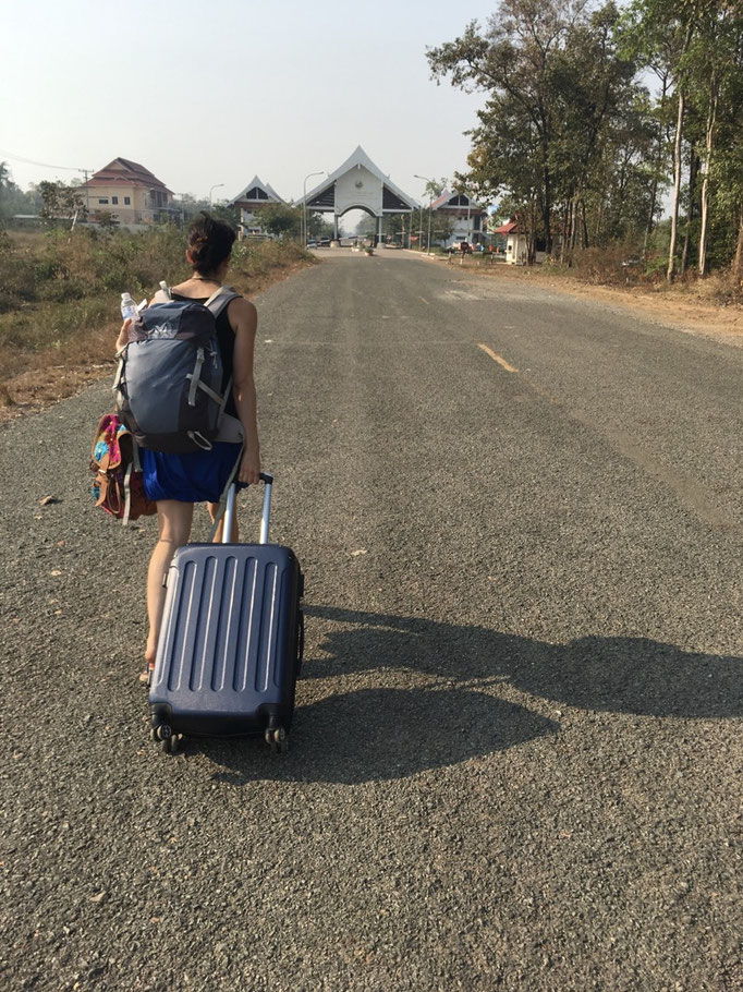 Irene walking to the border of Laos