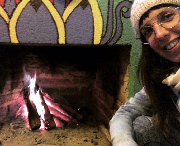 Irene infront of the open fire place
