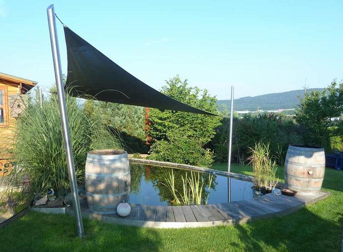 Sonnensegel Sonnenschutz Teich Stahl