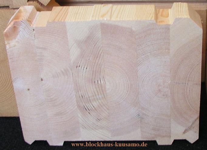 Baumaterial des Holzhauses - 275 mm dicke Lamellenbalken - Massivholzhaus