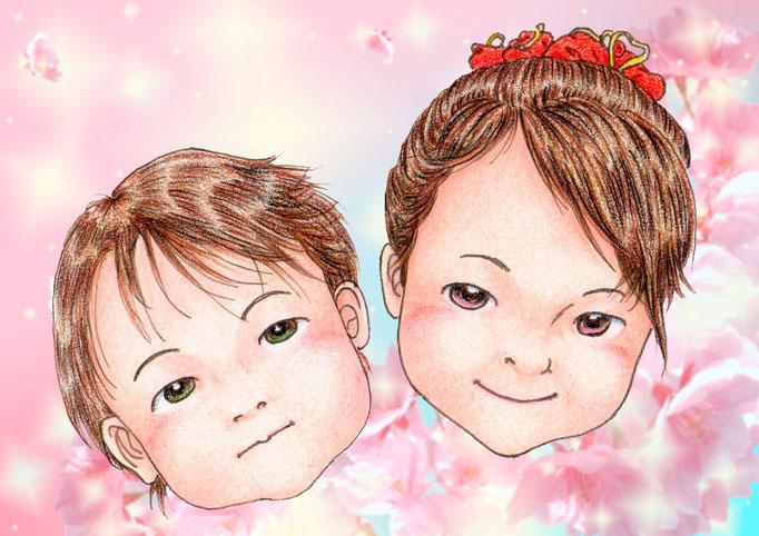 オリジナル背景「桜 ピンク」B5 & A4サイズみほん