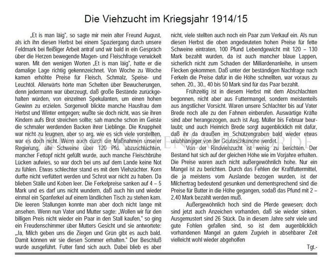 """""""Viehzucht im Kriegsjahr 1914/15"""" von Lehrer Tegtmeier"""