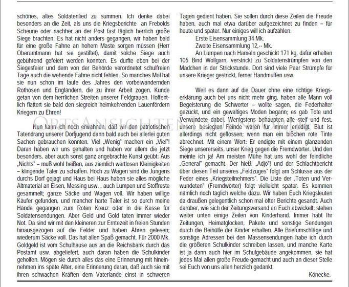 """""""Unsere Schule in der Kriegszeit"""" von Heinrich Könecke"""