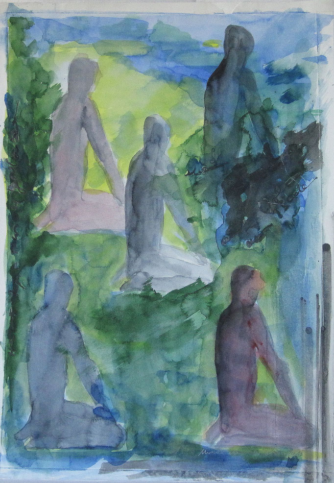 Yogastunde, 2015, Collage Aquarell, Bleistift, 30 x 40 cm