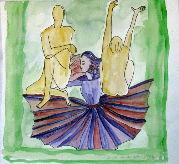 Akt mit Tänzerin, 2015, Collage, Aquarell, Tusche, 28 x 27,5 cm