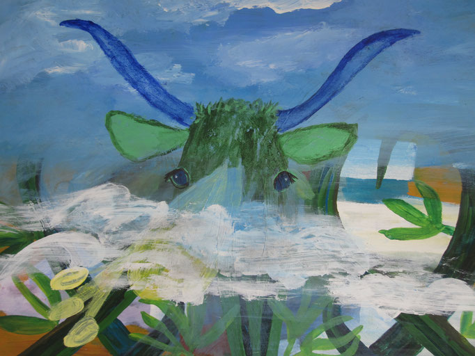 Schnaubender Stier, 2019, Acryl auf Leinwand, 70 x 50 cm