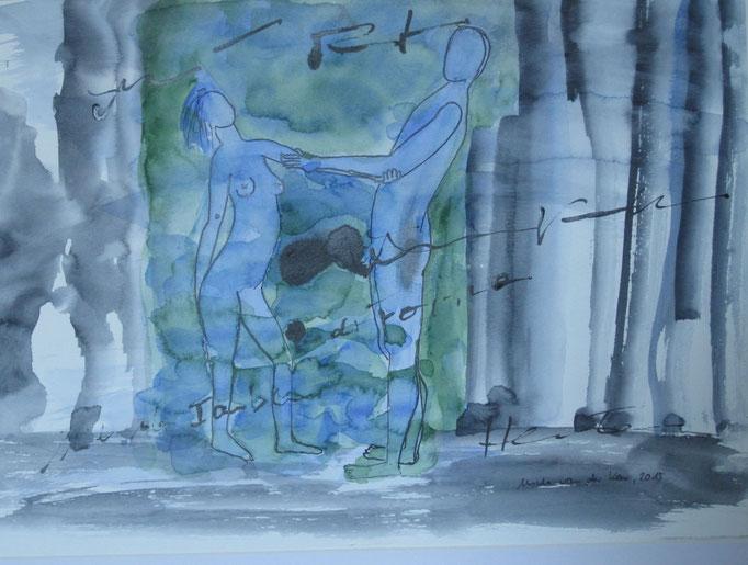Tanzendes Paar, 2015, Collage, Aquarell, Bleistift, 30 x 40 cm