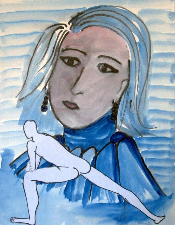 Mann vor Bild, 2015, Collage, Aquarell, Bleistift, 30 x 40 cm