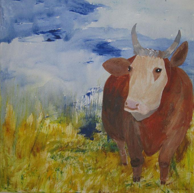 Kuh Berta ist traurig, 2019, Acryl auf Leinwand, 40 x 40 cm