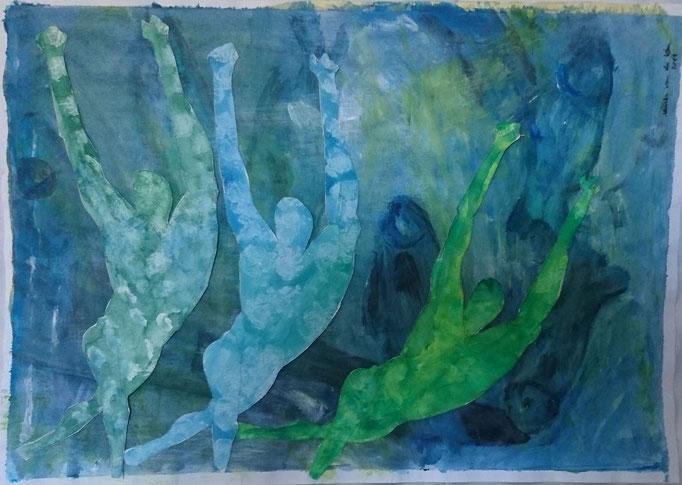 Männer und Fische,2013, Collage, Aquarell, Bleistift, 70 x 50 cm