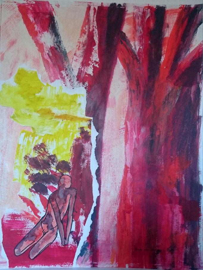 Unter roten Bäumen, 2017, Collage, Acryl, Bleistift, 50 x 64 cm