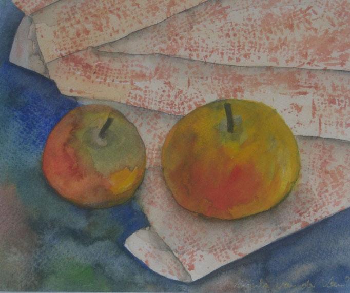 Zwei rotwangige Äpfel, 2004, Aquarell auf Papier, 24 x17,5 cm