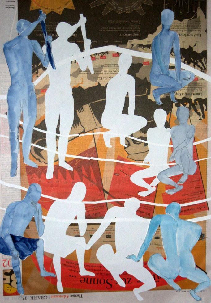 Verdoppelungen in Blau und Weiß, 2013, Collage, Aquarell, Bleistift, 42 x 59 cm