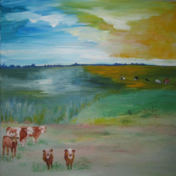 Kühe auf Salzwiese, 2020, Acryl auf Leinwand, 50 x 50 cm