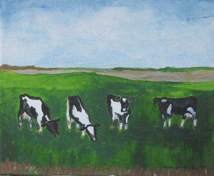 4 Kälber, 2009. Öl auf Leinwand, 30 x 24 cm