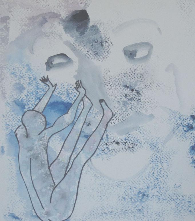 Oh Schreck, 2015, Collage, Aquarell, Tusche, 30 x 40 cm