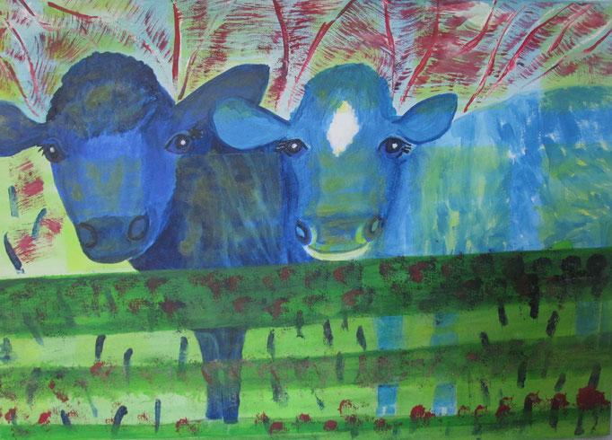 Blaue Kühe ,2020, Acryl auf Leinwand, 70 x 50 cm
