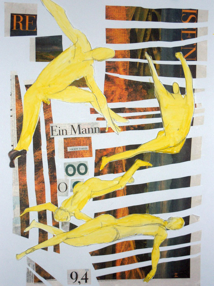 Gelbe Männer vor Leitern, 2013, Collage, Aquarell, Bleistift, 42 x 59 cm