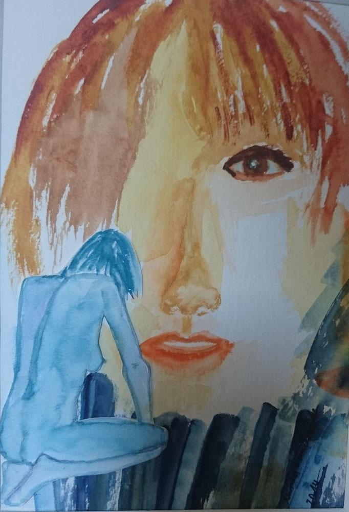 Frau vor Bild, 2014, Collage, Aquarell, Tusche, 22 x 30 cm