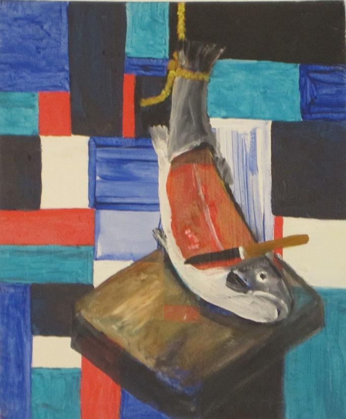 Lachs, 2013, Acryl auf Leinwand, 25 x 30 cm