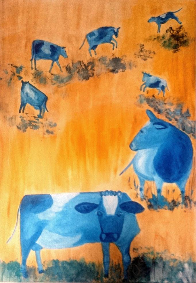Freudensprünge, 2020, Acryl auf Leinwand, 100 x 70 cm