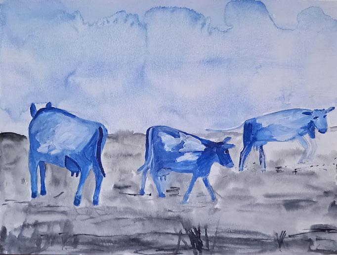 Blaue Kühe, 2020, Aquarell auf Papier, 29,5 X 40 cm