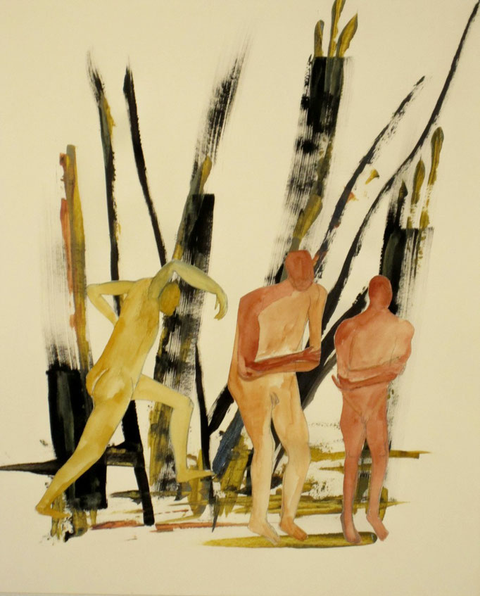 Vertrieben, 2013, Collage, Acryl, Tusche, Aquarell, 42 x 59 cm