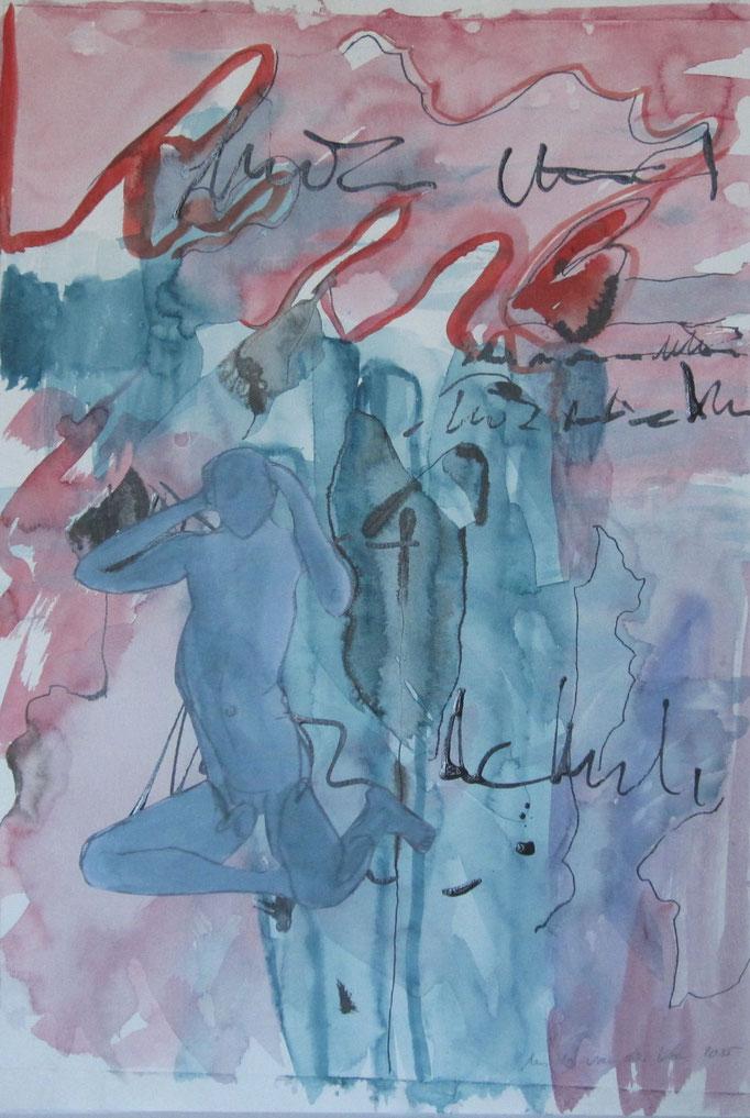 Mann Nachdenklich, 2015, Collage, Aquarell, Bleistift, 30 x 40 cm