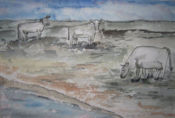 Kühe auf der Wiese, 2019,  Aquarel auf Papier, 50 x 32 cm