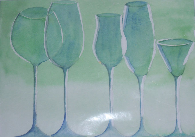 Grüne Gläser, 2004, Aquarell auf Papier, 30 x 24 cm