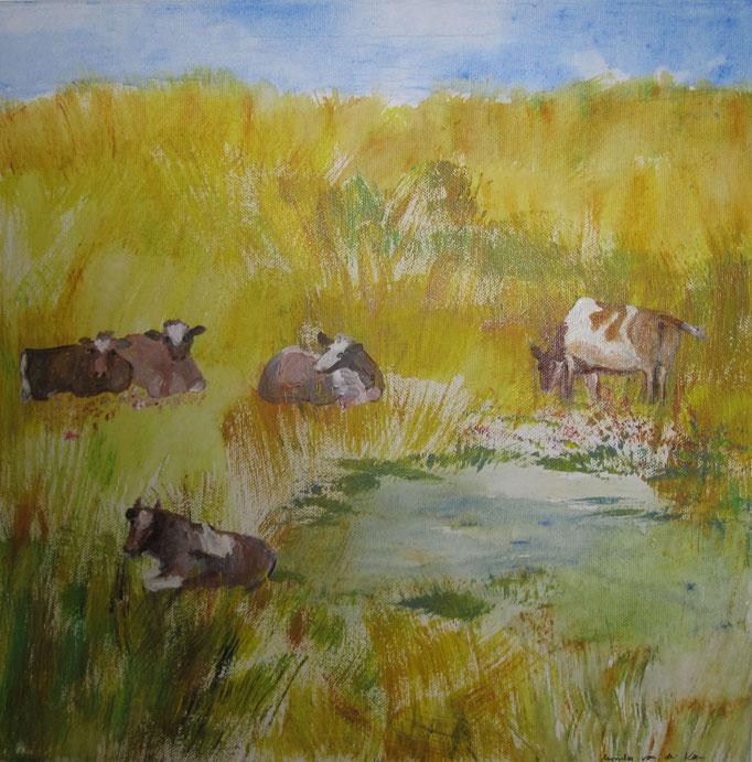 Rotbunte Kühe beim wiederkäuen, 2019 Acryl auf Leinwand, 40 x 40 cm