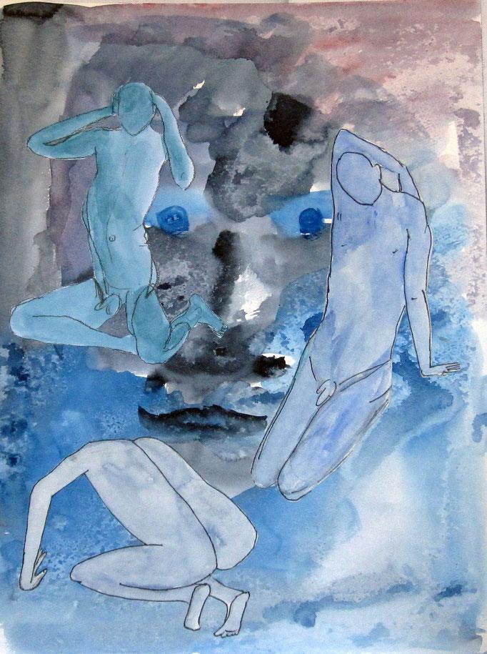In der blauen Grotte, 2014, Collage , Aquarell, Tusche,30 x 40 cm