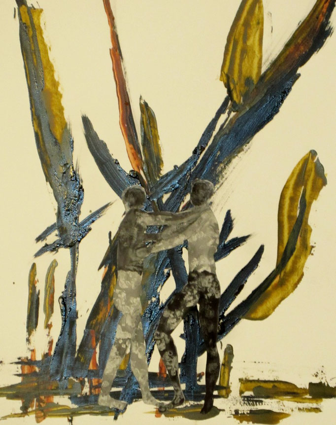 Zwei Männer mit Riesengewächsen, 2013, Collage, Acryl, Tusche, Aquarell, 50 X 64 cm