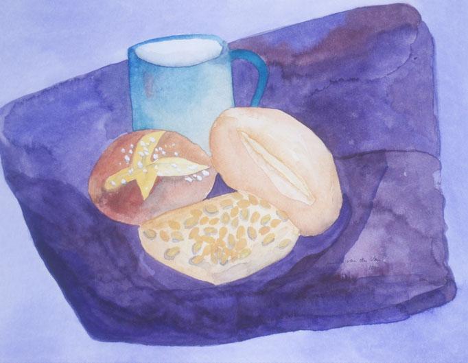 Zum Frühstück Brötchen, 2000, Aquarell auf Papier, 30 x 24 cm