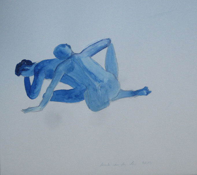 Two men in blue, 2013, Collage, Aquarell, Tusche, 40 x 30 cm