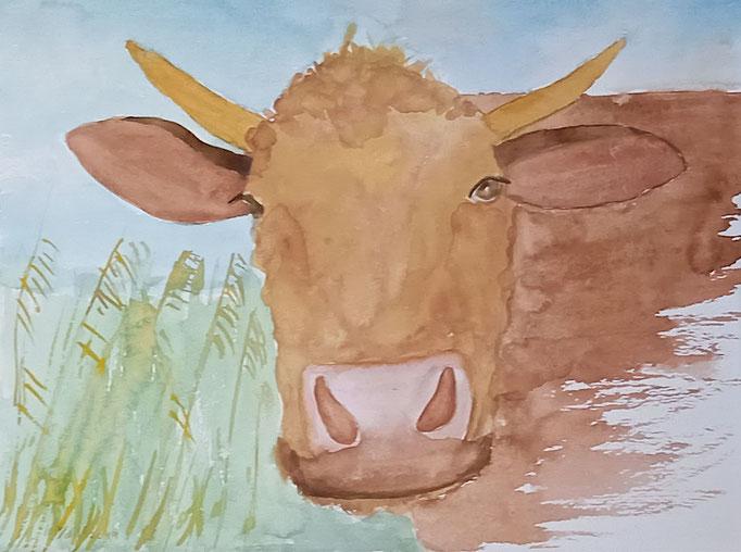 Kuh im Reet, 2020 Aquarell auf Papier, 23,5 X 31,5 cm