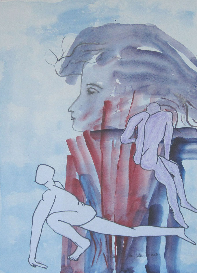 Paar vor Leinwand,2015 Aquarell, Tusche, 3 x 40 cm