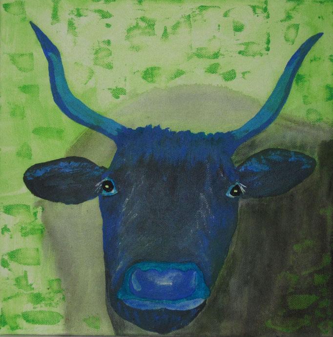 Kuh bunt, 2019, Acryl auf Leinwand, 30 x 30 cm