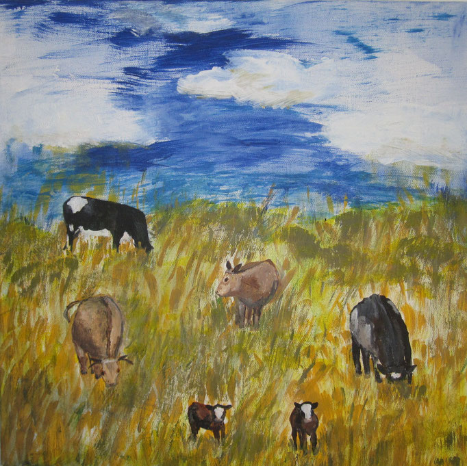 Grasende Kühe, 2019, Acryl auf Leinwand, 40 x 40 cm