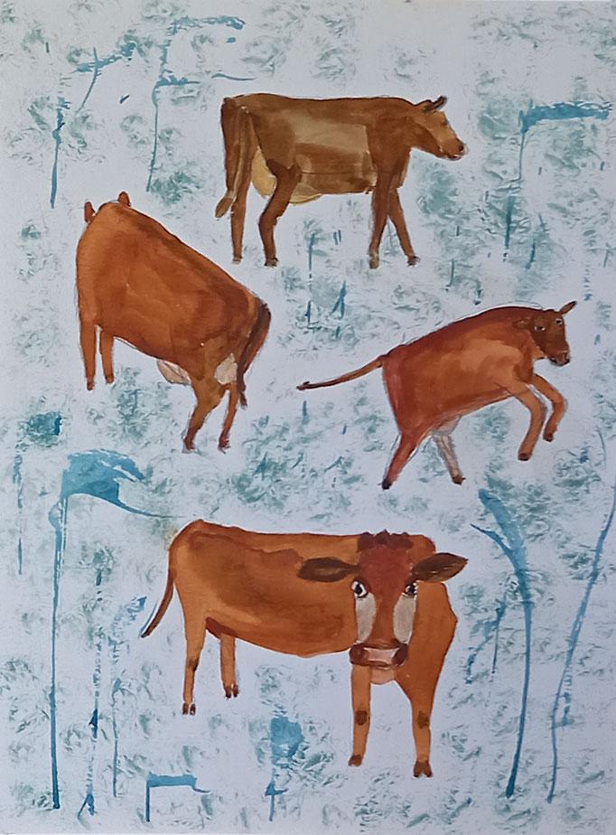 Braune Kühe, 2020, Aquarell auf Papier, 40 X 29,5 cm