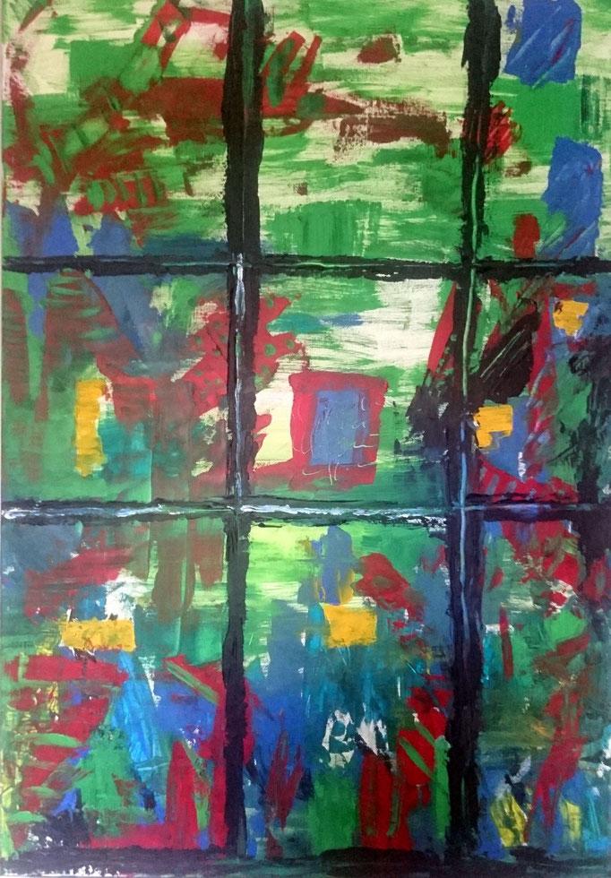 Blick auf saftige Wiese, 2020, Acryl auf Leinwand, 100 x 70 cm