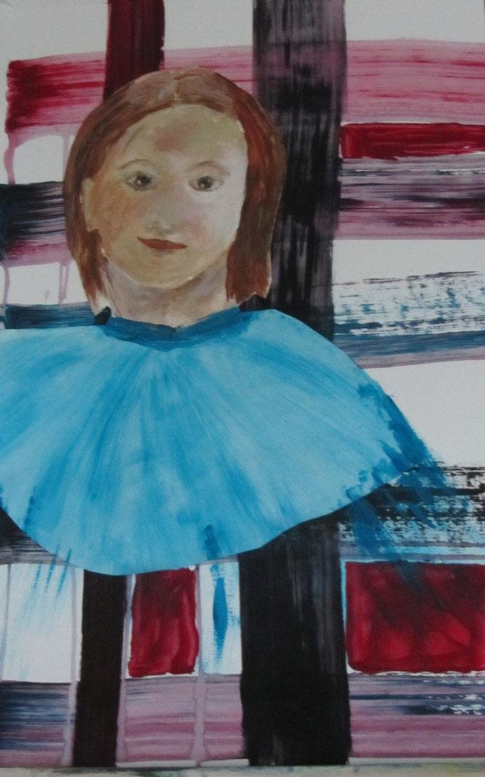 Mädchen mit blauem Kragen, 2013, Collage, Acryl auf Papier, 50 x 70 cm