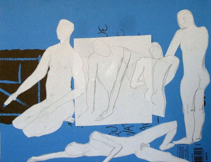 Gruppe blau/weiß, 2014, Collage ,Aquarell, Bleistift, 34 x 29 cm