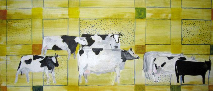 Schwarzbunte Kühe, 2020, Acryl auf Leinwand, 70 x 30 cm