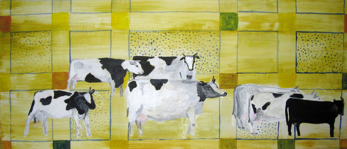 Kuhparade, 2020, Acryl auf Leinwand, 70 x 30 cm