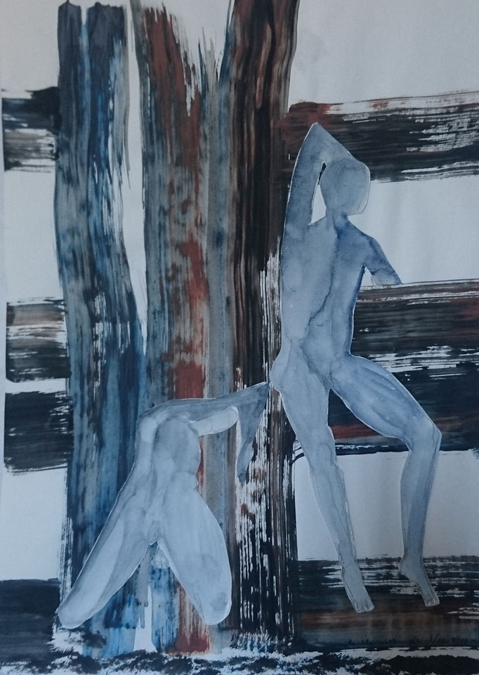 Männer grau vor Fachwerk, Collage,2018, Acryl, 30 x 40 cm