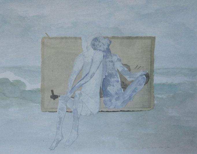 Kuscheln, 2015, Collage, Aquarell, Bleistift, 50x 40 cm