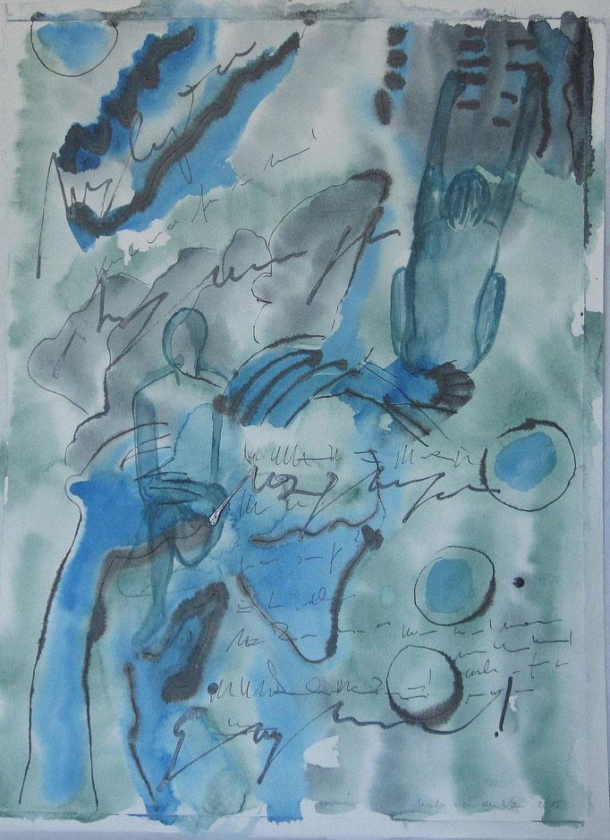 Vortrag, 2015, Collage, Aquarell, Bleistift, 30 x 40 cm